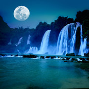 Moonlight Art - Waterfall by MotHaiBaPhoto Prints