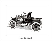 Pen And Ink Framed Prints Drawings Posters - 1903 Packard Poster by Jack Pumphrey