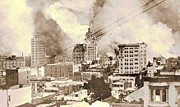 Burning Buildings Framed Prints - 1906 San Francisco Earthquake and Fire Framed Print by Padre Art