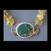 Brass Etching Jewelry - 191 Mountains of Quartz by Brenda Berdnik