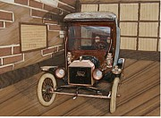 Car Reliefs - 1910 Ford Model T Delivery Truck by Alok Mital