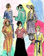 Period Clothing Drawings Prints - 1910s Models Print by Mel Thompson