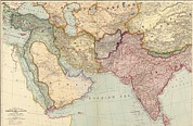 Arabia Framed Prints - 1912 English Map Of The Countries Framed Print by Everett