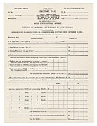 1910s Metal Prints - 1913 Federal Income Tax 1040 Form. The Metal Print by Everett