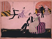 Dancing Couples Posters - 1915 John Held Cartoon Of Dancers Poster by Everett