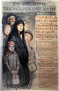 Steinlen Drawings - 1915 Original French WWI Poster - En Belgique les Belges ont Faim by Steinlen