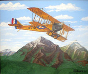 World War One Painting Prints - 1917 Curtis Jenny JN4 used by the Army Air Corps Print by Mickael Bruce