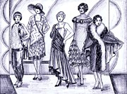 Pajamas Drawings Prints - 1920s British Fashions Print by Mel Thompson
