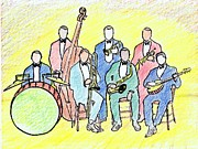 Trombone Drawings Posters - 1920s Jazz Band  Poster by Mel Thompson