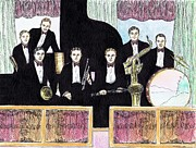Trombone Drawings Posters - 1920s Jazz Band with Curtains Poster by Mel Thompson