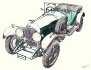 Veteran Drawings Prints - 1923 Bentley 3 Litre Print by Dan Poll