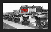 Beach Photograph Drawings Posters - 1924 Vintage Automobiles Parked at Atlantic City Poster by Anne Kitzman