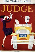 Morals Prints - 1925 New Years Cover Of Judge Magazine Print by Everett