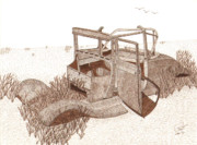 Sepia Ink Drawings - 1927 Ford Model T Roadster by Pat Price