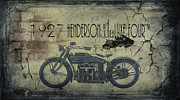 Vintage Framed Prints Posters - 1927 Henderson Vintage Motorcycle Poster by Cinema Photography