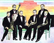Trombone Drawings Posters - 1927 New Yorkers Jazz Band Poster by Mel Thompson