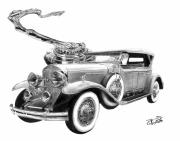 Vintage Car Drawings Prints - 1929 Cadillac  Print by Peter Piatt