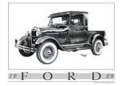 Ford Truck Drawings - 1929 Model A Pickup by Trenton Hill