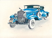 Caddy Paintings - 1930 Cadillac by Frank SantAgata