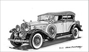Note Cards Drawings Acrylic Prints - 1930 Cadillac Phaeton Acrylic Print by Jack Pumphrey