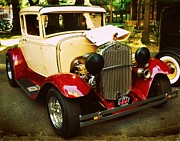Model A Posters - 1930 Ford Model A Coupe Poster by Cathie Tyler
