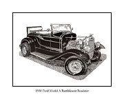 Pen And Ink Framed Prints Prints - 1930 Ford Model A Roadster Print by Jack Pumphrey