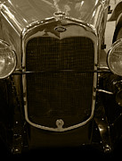 Roadster Grill Posters - 1930 Ford Model A Rumble Seat Roadster Grill Sepia Tone Poster by Ken Smith