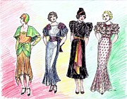 1939 Drawings Posters - 1930s Dresses Poster by Mel Thompson