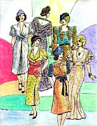 Period Clothing Drawings Prints - 1930s Fashions Print by Mel Thompson
