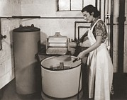 Basement Photo Posters - 1930s State Of The Art Home Laundry Poster by Everett