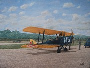 Biplane Paintings - 1930s Tiger Moth Aircraft - Aeronave Forca Aerea Portuguesa by Carlos De Vasconcelos Tavares