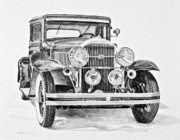 Fine Art Drawing Prints Drawings Originals - 1931 Buick by Daniel Storm