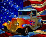 July 4th Posters - 1931 Ford Flaming Custom Pickup Truck Poster by Tim McCullough