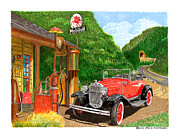 Standard Painting Posters - 1931 Ford Model A Roadster Poster by Jack Pumphrey