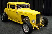 Domestic Car Framed Prints - 1932 Ford 5 Window Coupe . Yellow . 7D9275 Framed Print by Wingsdomain Art and Photography