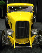 Transportation Photo Prints - 1932 Ford 5 Window Coupe . Yellow . 7D9277 Print by Wingsdomain Art and Photography