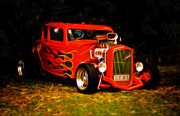 Ford Custom V8 Posters - 1932 Ford Coupe Hot Rod Poster by Phil