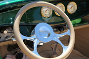 Classic Ford Roadster Framed Prints - 1932 Ford Roadster Steering Wheel and Guages . 5D16176 Framed Print by Wingsdomain Art and Photography