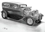Hotrod Drawings Posters - 1932 Ford Tudor drawing Poster by John Harding