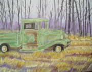 Belinda Lawson Prints - 1932  GreenFord Pickup Truck Print by Belinda Lawson
