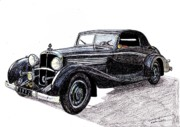 Coupe Drawings Originals - 1932 Maybach Zeppelin by Dan Poll