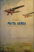 Biplane Drawings - 1932 Original Italian Aviation Travel Poster by Batto