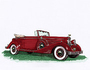 Cadillac Painting Posters - 1933 Cadillac Convert Victoria Poster by Jack Pumphrey