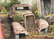 Cars Paintings - 1934 Dodge Half-Ton by Sam Sidders