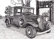 Autos Drawings - 1934 Ford Truck by Jimmy McAlister