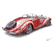 Coupe Drawings Originals - 1934 Mercedes-Benz 500K by Dan Poll