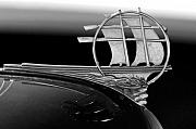 Historic Ship Posters - 1934 Plymouth Hood Ornament black and white Poster by Jill Reger