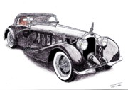 Coupe Drawings Originals - 1934 Voisin C15 by Dan Poll