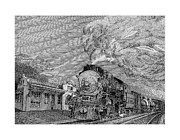 Note Cards Drawings Acrylic Prints - 1935 Baldwin Locomotive 2442 Acrylic Print by Jack Pumphrey