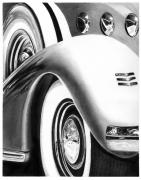 Vintage Car Drawings Prints - 1935 LaSalle Abstract Print by Peter Piatt